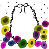 フリー素材:アイコン(twitter,mixi,ブログ);北欧風のカラフルな花とモノクロのリボンと水玉の飾り枠;200×200pix