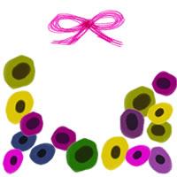 フリー素材:アイコン(twitter,mixi,ブログ);北欧風のカラフルな花とピンクのリボンの飾り枠;200×200pix