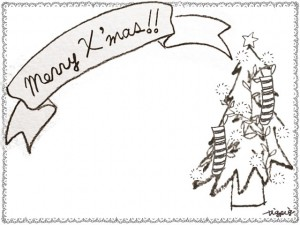 フリー素材:フレーム;北欧風のシンプルなレースの囲み枠とクリスマスツリーとMerryX'masの手書き文字のリボン;640×480pix
