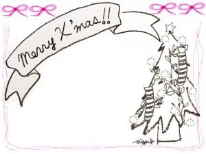 フリー素材:フレーム;ガーリーなピンクのリボンとラインの囲み枠とクリスマスツリーとMerryX'masの手書き文字のリボン;640×480pix