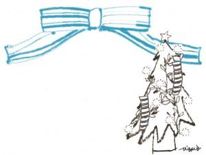 フリー素材:クリスマスのフレーム;北欧風のモノトーンのレースのクリスマスツリーとパステルブルーのリボン;640×480pix