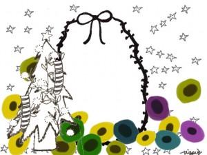 フリー素材:クリスマスのフレーム;北欧風のモノトーンとクリスマスツリーと花と星とリボンの囲み枠;640×480pix
