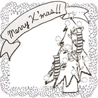 フリー素材:アイコン(twitter,mixi,ブログ);北欧風のクリスマスツリーとMerryX'masの手書き文字とレースの囲み枠;200×200pix