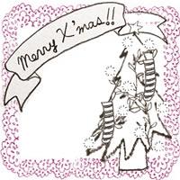 フリー素材:アイコン(twitter,mixi,ブログ);北欧風のクリスマスツリーとMerryX'masの手書き文字とベリーピンクのレースの囲み枠;200×200pix