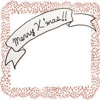 フリー素材:クリスマスのアイコン(twitter,mixi,ブログ);ガーリーでシンプルなMerryX'masの手書き文字とオレンジのレースの囲み枠;200×200pix