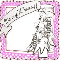 フリー素材:アイコン(twitter,mixi,ブログ);北欧風のクリスマスツリーとMerryX'masの手書き文字とピンクのレースの囲み枠;200×200pix