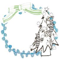 フリー素材:アイコン(twitter,mixi,ブログ);北欧風のシンプルなクリスマスツリーと黄緑のリボンとパステルブルーのレースの丸い飾り枠;200×200pix