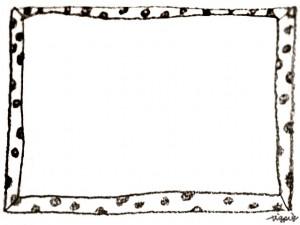 フリー素材:フレーム;モノクロのガーリーな水玉のフレーム;640×480pix