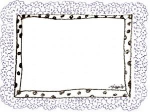 フリー素材:フレーム;モノクロの水玉と紺色のレースの飾り枠;640×480pix