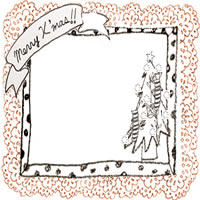 フリー素材:アイコン(twitter,mixi,ブログ);モノクロの水玉のフレームとmerryX'masの手書き文字とクリスマスツリーとオレンジのレースの飾り枠;200×200pix