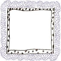 フリー素材:アイコン(twitter,mixi,ブログ);モノクロの水玉のフレームと紺色のレースの飾り枠;200×200pix