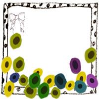 フリー素材:アイコン(twitter,mixi,ブログ);モノクロの水玉のフレームと北欧風のシンプルな花(アネモネ)とガーリーなりぼん;200×200pix