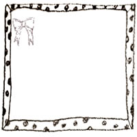 フリー素材:アイコン(twitter,mixi,ブログ);モノクロの水玉のとガーリーなりぼんのフレーム;200×200pix