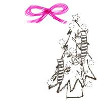 フリー素材:アイコン(twitter,mixi,ブログ);北モノクロのシンプルなクリスマスツリーとガーリーなピンクのリボン200×200pix