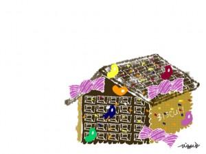 フリー素材:フレーム;ガーリーで大人可愛いお菓子の家;640×480pix
