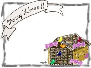 フリー素材:クリスマスのフレーム;ガーリーなお菓子の家とシンプルな鉛筆風の飾り枠;640×480pix