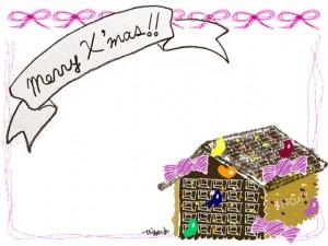 フリー素材:クリスマスのフレーム;ガーリーなお菓子の家とMerryX'masの手書き文字とピンクのリボンの飾り枠;640×480pix