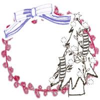 フリー素材:アイコン(twitter,mixi,ブログ);北欧風のモノクロのクリスマスツリーとブルーのりぼんとピンクの円のレースの飾り枠;200×200pix