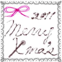 フリー素材:アイコン(twitter,mixi,ブログ);モノトーンのレースとピンクのリボンとMerryX'masの手書き文字;200×200pix
