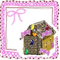 フリー素材:アイコン(twitter,mixi,ブログ);大人可愛いお菓子の家とヒンクのりぼんとレースの飾り枠;200×200pix