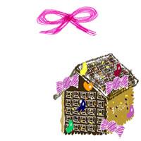 フリー素材:アイコン(twitter,mixi,ブログ);大人可愛いお菓子の家とヒンクのりぼん;200×200pix