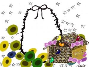 フリー素材:フレーム;モノトーンのりぼんと星と北欧風のカラフルな花とお菓子の家の飾り枠;640×480pix
