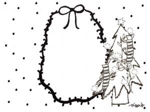 フリー素材:フレーム;モノトーンの水玉とりぼんと楕円のレースと北欧風のシンプルなクリスマスツリー;640×480pix