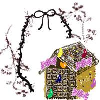 フリー素材:アイコン;北欧風の木の枝とモノトーンのリボンとお菓子の家のwebデザイン素材