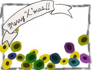 フリー素材:フレーム・飾り枠:640×480pix;モノトーンのMerryX'masの手書き文字のリボンと北欧風の花とシンプルな鉛筆の飾り枠