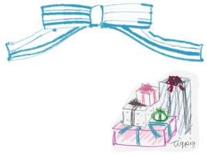フリー素材:フレーム:640×480pix;大人かわいいプレゼントボックスの山とパステルブルーのストライプのリボン