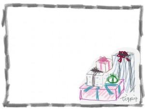 フリー素材:フレーム:640×480pix;モノトーンの鉛筆風ラインの飾り枠とプレゼントボックス