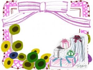 フリー素材:フレーム;北欧風の花とプレゼントボックスとガーリーなピンクのリボンとレースと囲み枠:640×480pix