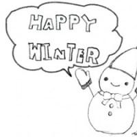 フリー素材:イラスト;モノトーンの大人かわいい雪だるまとHAPPYWINTERの手書き文字と吹出し;640×480pix