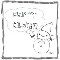 フリー素材:バナー広告250×250pix;モノトーンの雪だるまとHAPPYWINTERの手書き文字と吹出しと鉛筆ラインのフレーム