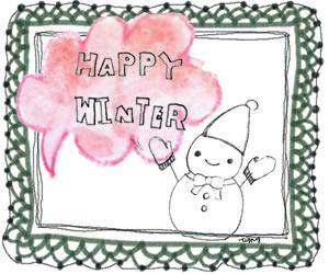 フリー素材:バナー広告;モノトーンの雪だるまとHAPPYWINTERの手書き文字とピンクの吹出しとモスグリーンのレース;300×250pixミディアムレクタングル