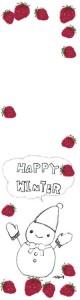 フリー素材:バナー広告;モノトーンの雪だるまとHAPPYWINTERの手書き文字と吹出しとイチゴのフレーム;160×600pix