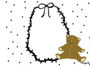 フリー素材:フレーム;大人かわいいのテディベア(クマのぬいぐるみ)とモノクロのリボンと水玉の飾り枠;640×480pix