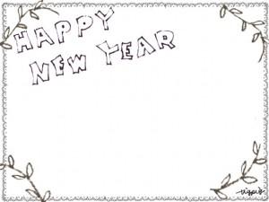 フリー素材:HAPPYNEWYEARの手書き文字とブラウンブラックの葉っぱとモノクロのレースの飾り枠;フレーム640×480pix
