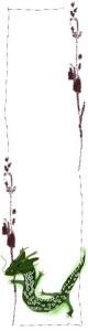 フリー素材:ガーリーな辰と北欧風の茶色の花と枝のフレーム;バナー広告160×600pix