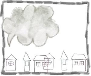 フリー素材:バナー広告;モノトーンの北欧風のお家とフキダシとラフな鉛筆のラインのフレーム;300×250pixミディアムレクタングル