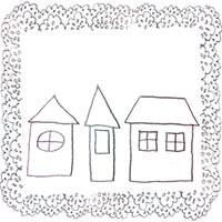 フリー素材:鉛筆画のシンプルなお家とブルーブラックのレースの飾り枠;アイコン(twitter,mixi,ブログ)200×200pix