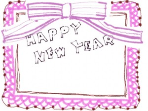フリー素材:「HAPPYNEWYEAR」の手書き文字とガーリーなピンクのレースの飾り枠;フレーム640×480pix