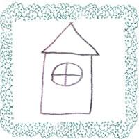 フリー素材:北欧風のモノトーンの丸い窓のお家とパステルブルーのレースの飾り枠;アイコン(twitter,mixi,ブログ)200×200pix