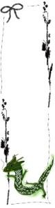 フリー素材:辰とモノトーンの北欧風の木の枝の囲み枠;バナー広告160×600pix