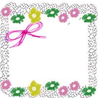 フリー素材:アイコン(twitter);北欧風のレトロなデザインの小花とリボンとレースの飾り枠のwebデザイン素材