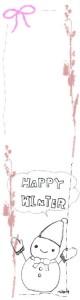 フリー素材:北欧風のピンクの木の枝とりぼんと雪だるまとHAPPYWINTERの手書き文字と吹出し;バナー広告160×600pix