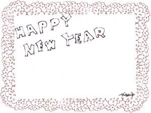 フリー素材:ブラウンブラックの手書き文字HappyNewYearとピンクのレースの囲み枠;フレーム640×480pix