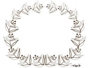 フリー素材:フレーム;北欧風の花と葉の飾り枠:640×480pix