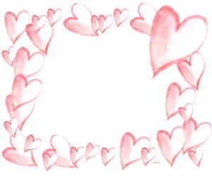 フリー素材:ハート;ピンクの水彩のハートいっぱいのイラストのフレーム;バレンタインのバナー広告300×250pix
