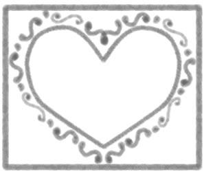 フリー素材:ハート;モノトーンのガーリーなハートのイラストと囲み枠;バレンタインのバナー広告300×250pix